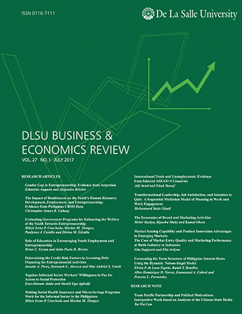 E-Journal | DLSU Business & Economics Review vol  27, no  1 (2017)